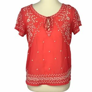 American Eagle Coral Embroidered Blouse Size Small